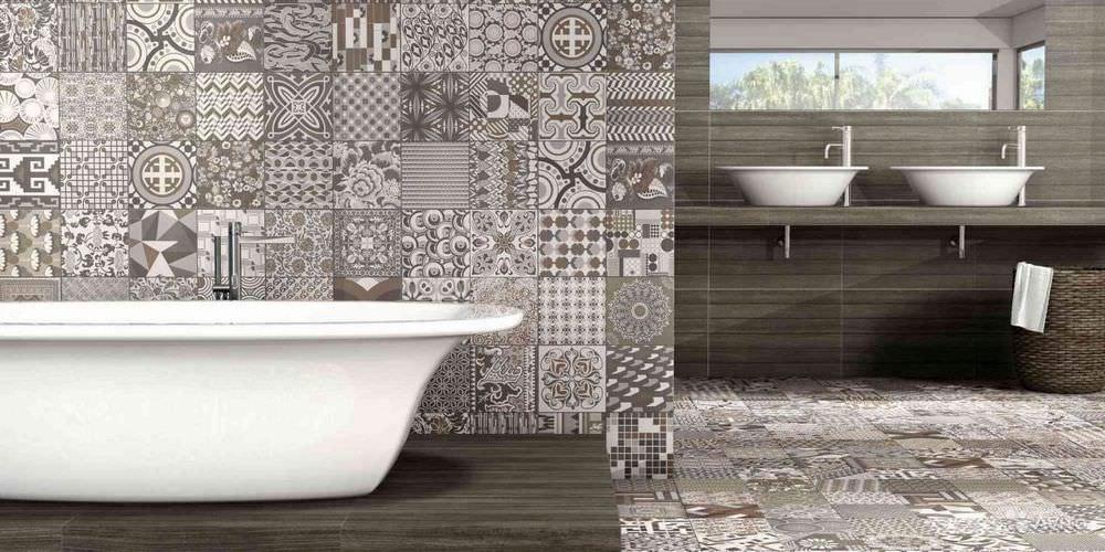 В просторной ванной комнате плитка данного стилистического направления может использоваться для визуального сочетания поверхностей