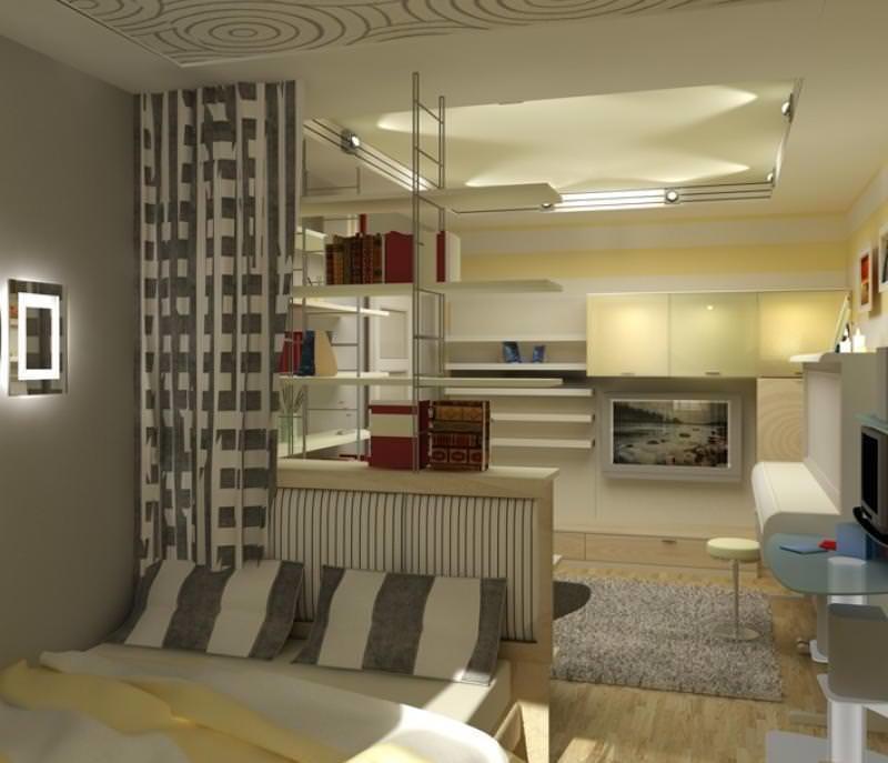 Для экономии пространства, кровать в кухне-спальне можно расположить вдоль стены