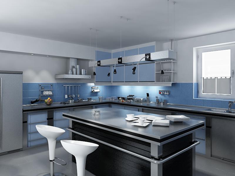 Голубой цвет и его оттенки в дизайне кухни - это само спокойствие и умиротворение