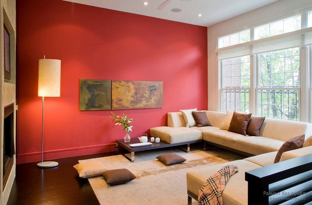 Стильная гостиная в красных тонах