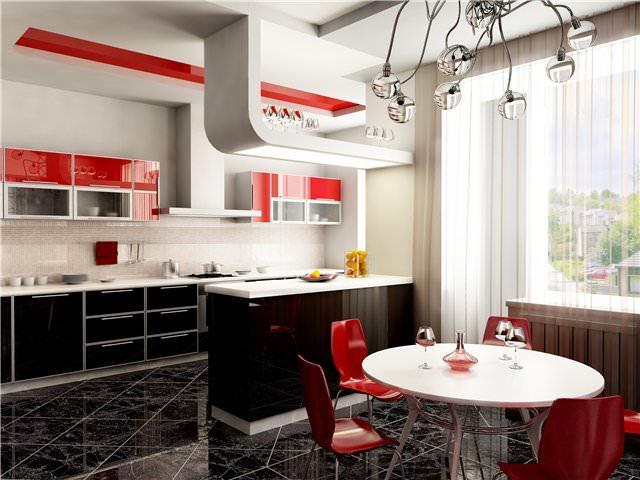 Кухня, совмещенная с гостиной, отличается тем, что объединяет функции обоих помещений