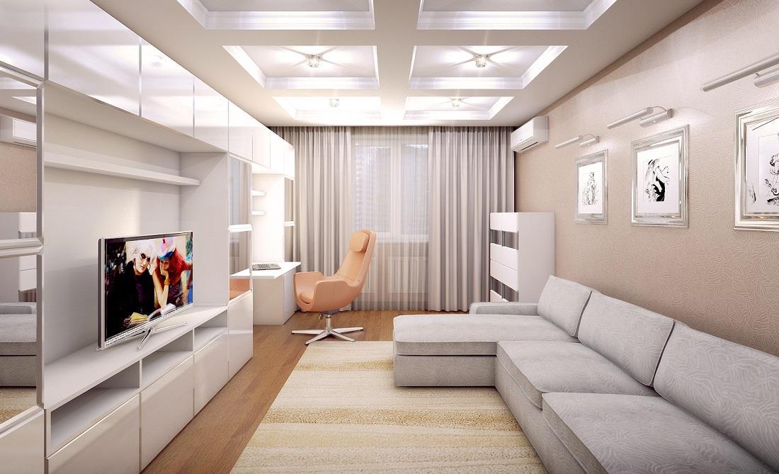 Зона отдыха в гостиной должна располагаться ближе к двери, а рабочая – ближе к окну