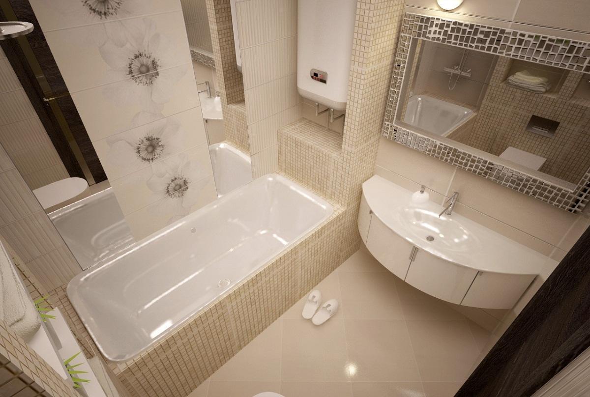 Если ванная комната небольшая, то при ее оформлении стоит применять материалы и мебель светлых оттенков