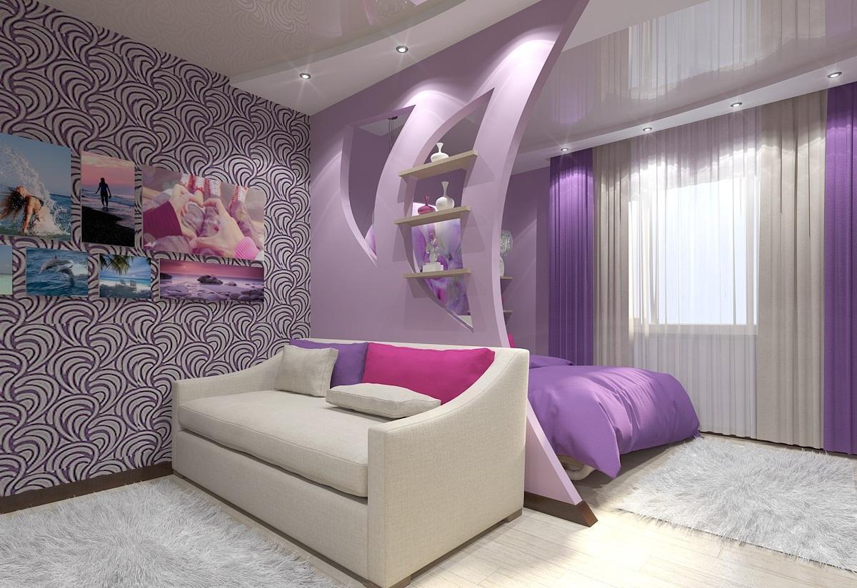 Проще всего выполнить зонирование спальни и гостиной можно с помощью перегородки или мебели