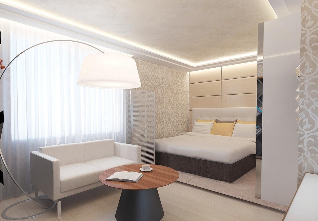 Для предотвращения монотонности спальни-гостиной следует выбирать мебель, которая будет отличаться по цвету