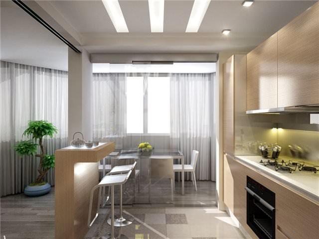 Служить разделителем между зонами кухни-гостиной может барная стойка