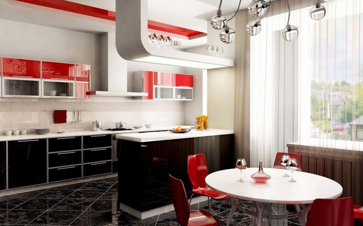 Если вам нравится классический стиль, тогда кухня в бело-черно-красных тонах будет идеальным решением для вас