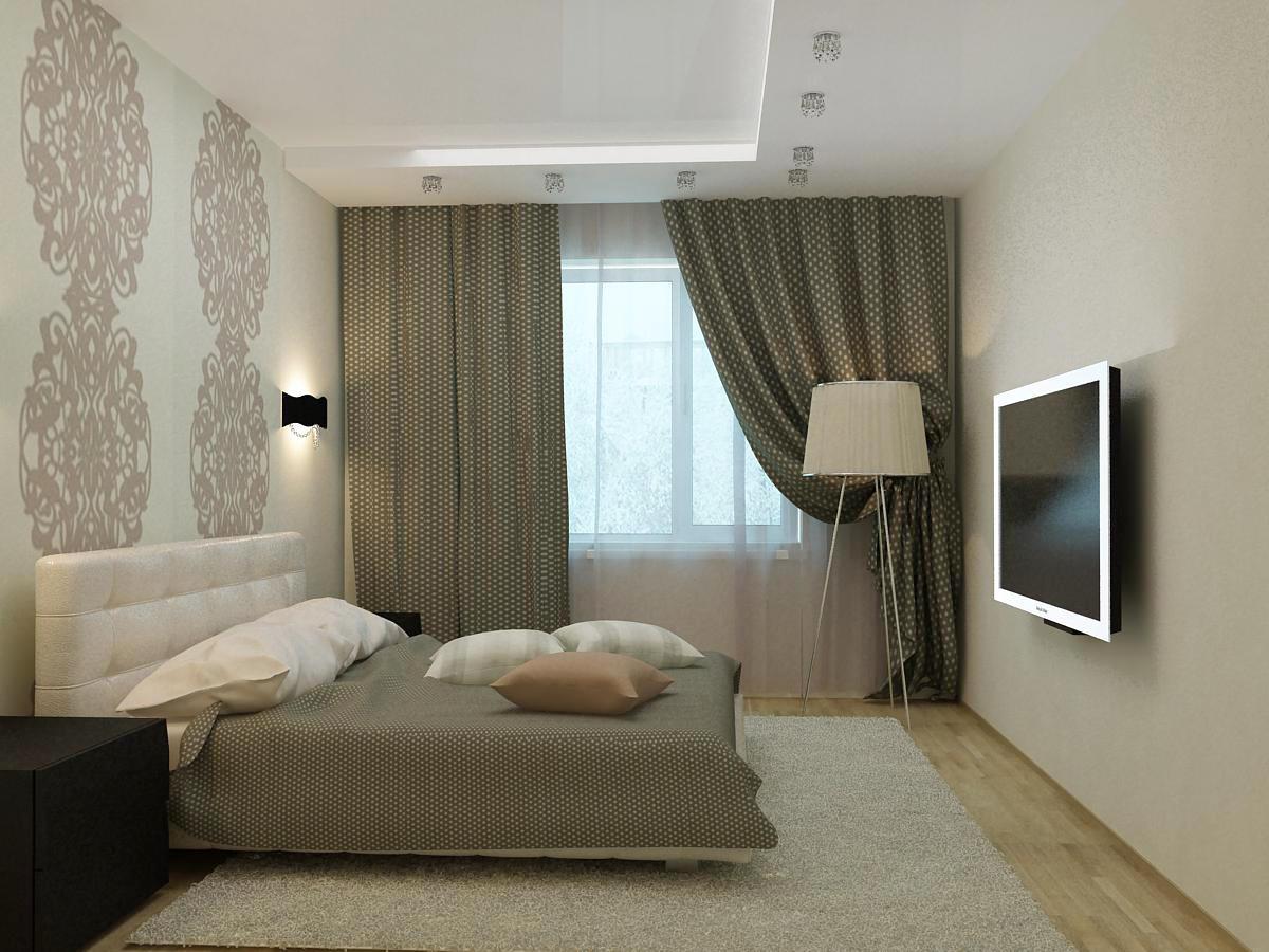 Для маленькой спальни стоит выбирать не объемную люстру, а небольшие светильники