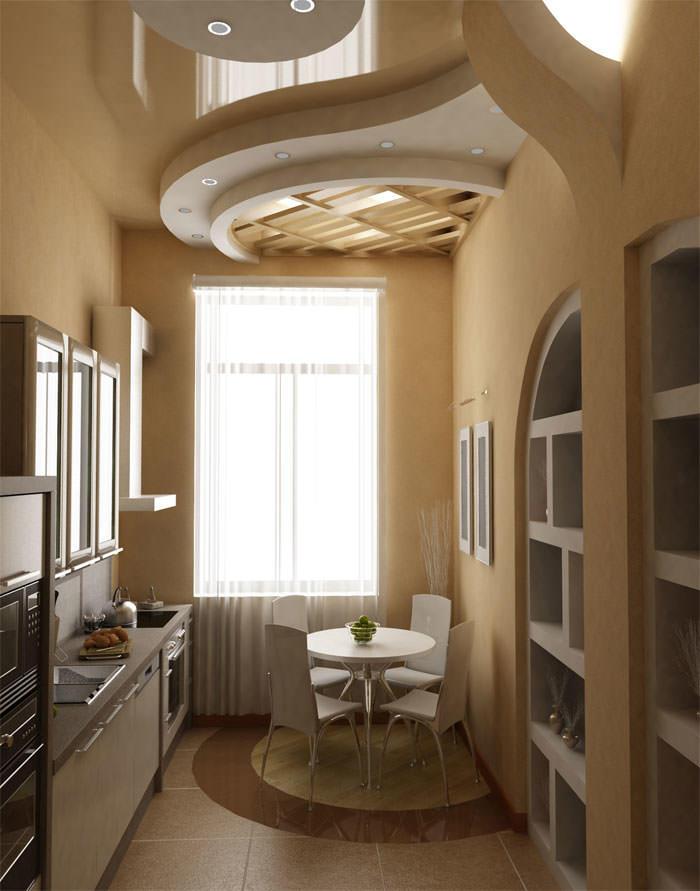 Ниша в стене на маленькой кухне поможет гармонично обустроить интерьер