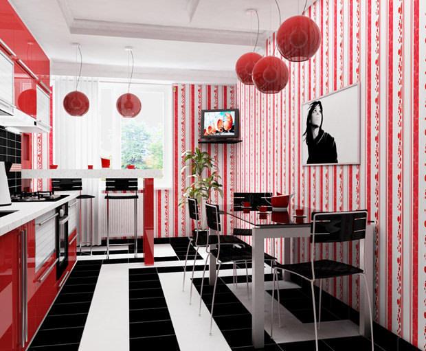 Разбавить интерьер жизнерадостного цвета помогут элементы декора, которые должны идеально сочетаться и подчеркивать красный цвет на кухне