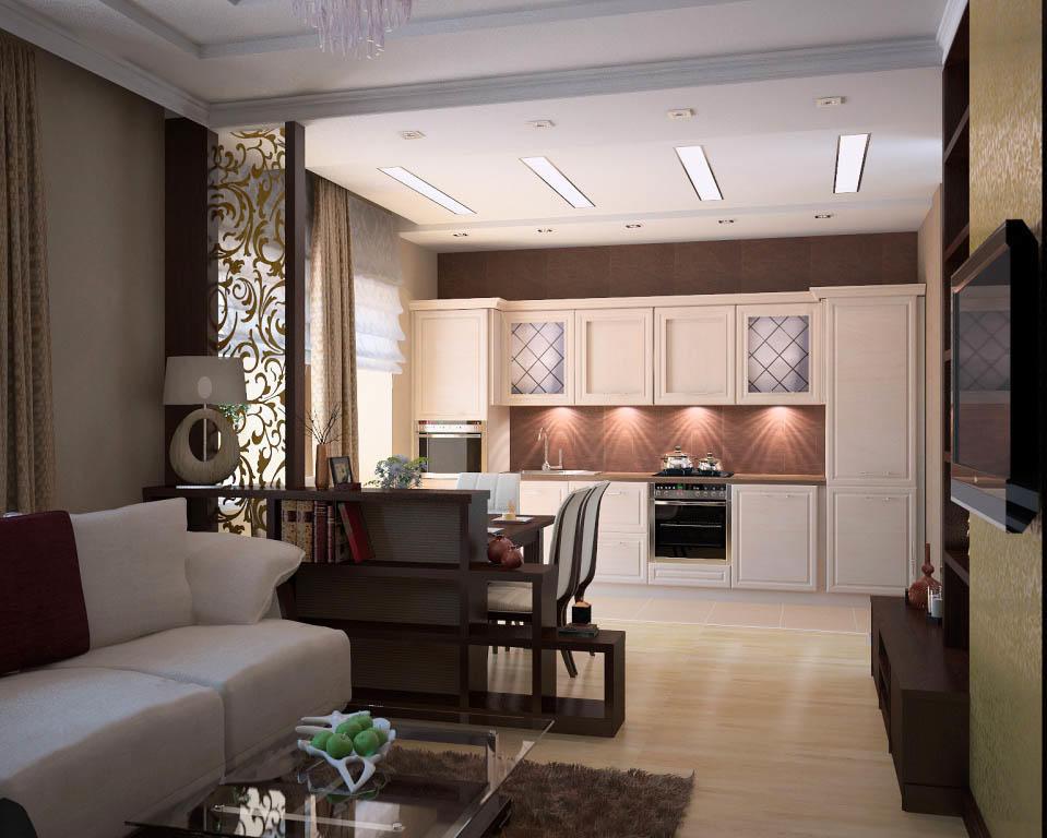 В качестве оригинального элемента может выступать освещение. К примеру, использование встроенных в потолок светильников, которые наполняют кухню приятным мягким светом