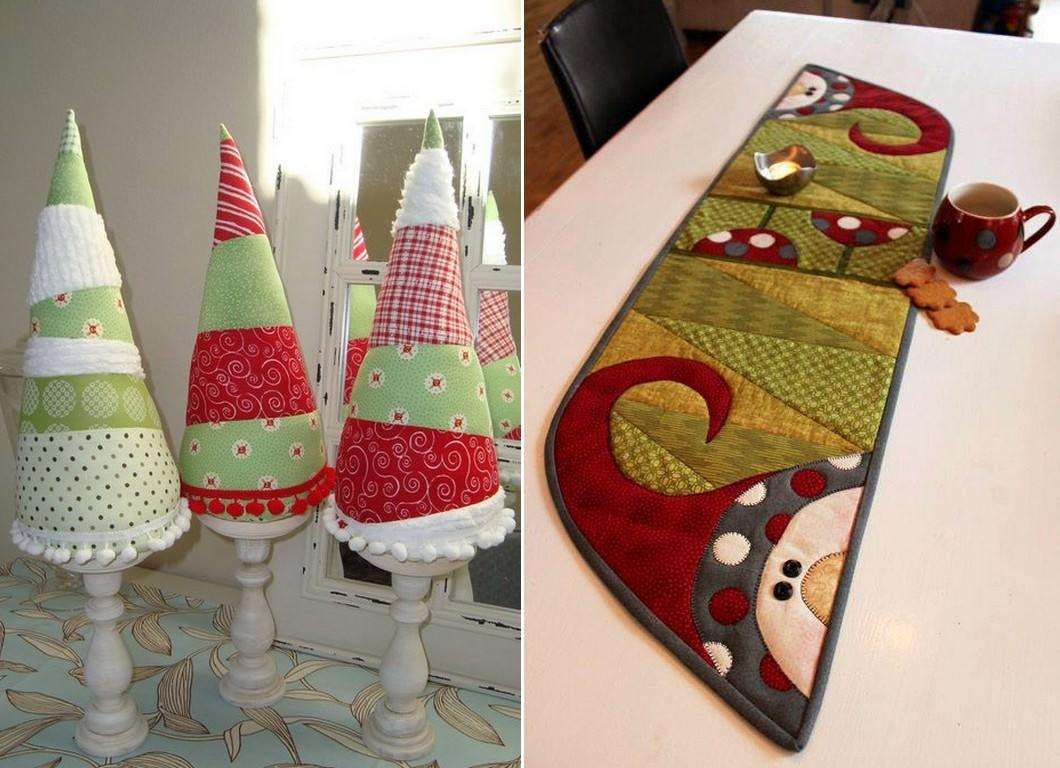 Декоративные элементы в технике пэчворк внесут в любой интерьер праздничную атмосферу