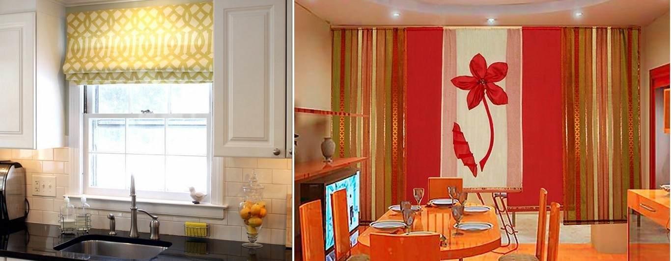 Японские и римские шторы очень удобны и практичны для использования в условиях кухни