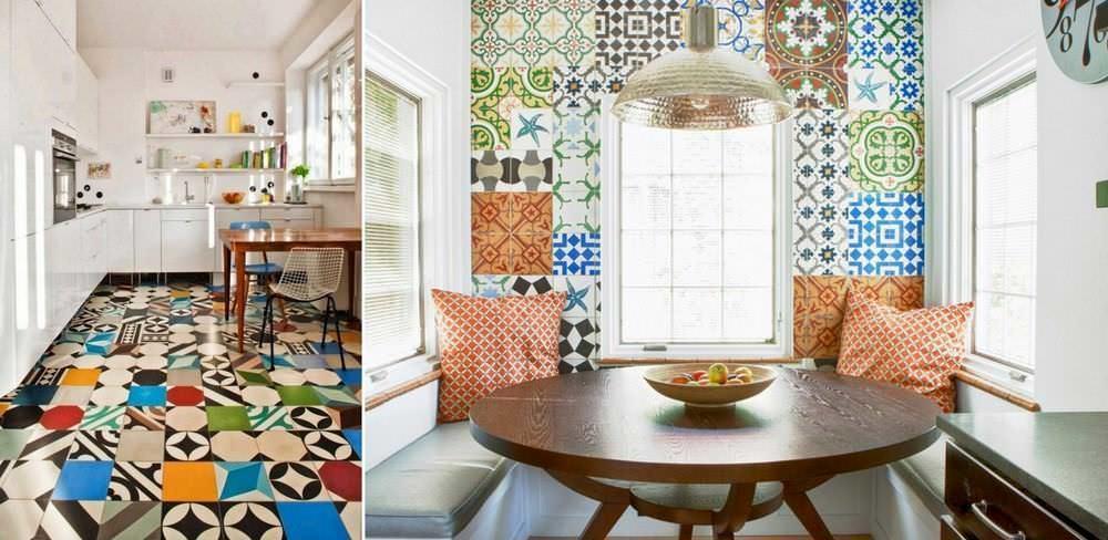 При оформлении кухонного интерьера, плитка в стиле лоскутного шитья может применяться в разных вариациях
