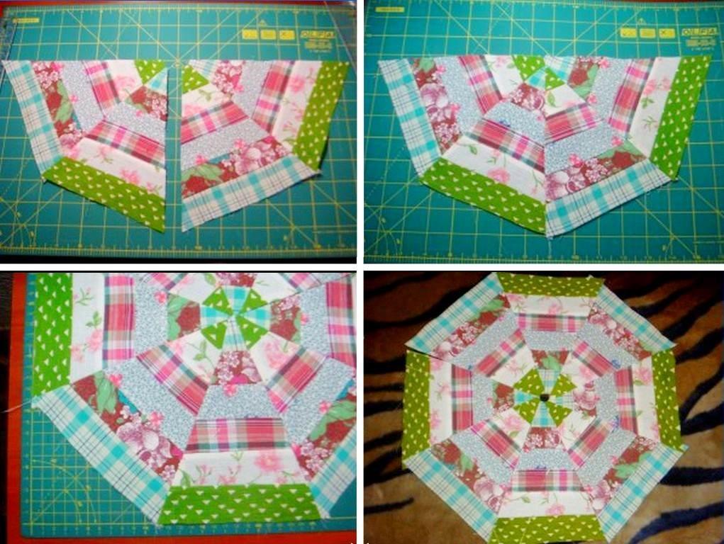 Далее нужно будет приготовить 2 квадрата со стороной 12,5 см и разрезать каждый по диагонали