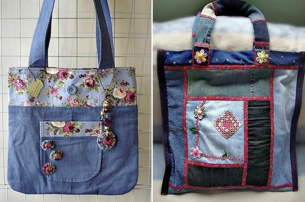 Лоскутная пэчворк сумка из джинсы может быть выполнена в разных вариациях