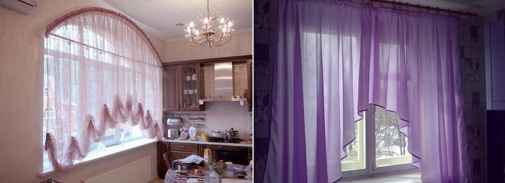 Сделать дизайн кухни более легким поможет тюль-арка в декорировании окна
