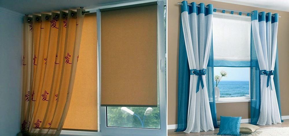В сочетании с римскими шторами можно применять тюль любой текстуры