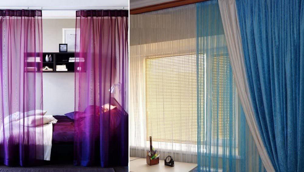 Гардины в декорировании интерьера могут применяться не только на окнах