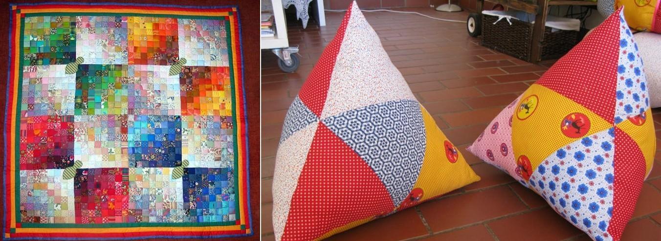 Яркие и стильные предметы интерьера из квадратов или треугольников сшить самостоятельно довольно просто