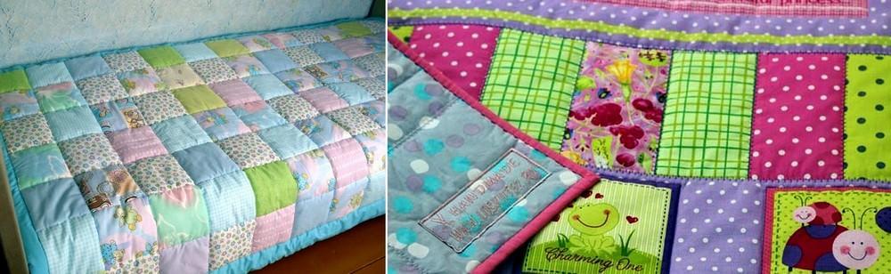 Красочное лоскутное покрывало может стать ярким предметом интерьера детской комнаты