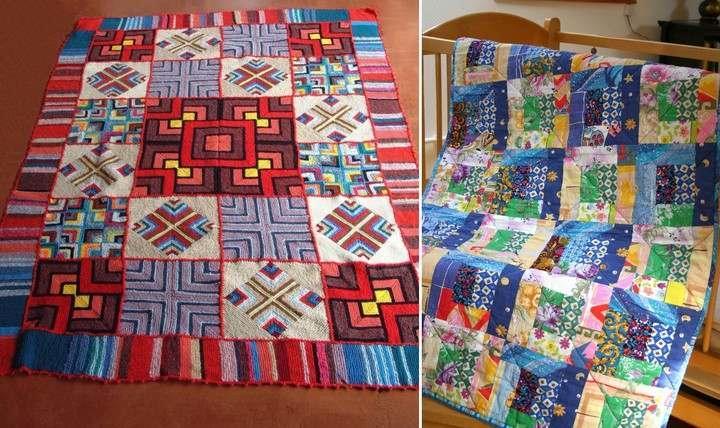 Лоскутные изделия можно шить из фрагментов ткани или вязать на спицах