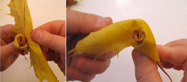 Затем вы берете второй кленовый листов (желательно, того же цвета), и помещаете его внутрь рулончика, в самое основание