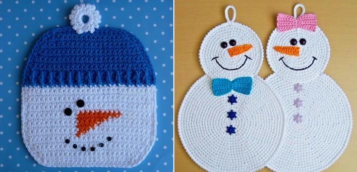 Прихватка в виде снеговика может полностью повторять контуры зимнего героя или являться символичным аксессуаром в форме типичного квадрата