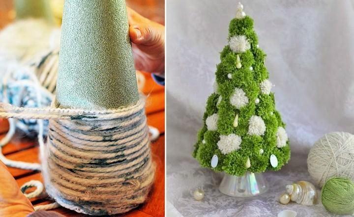 Изготовить и оформить новогоднюю елочку из пряжи можно разными способами. Вместо нитей можно использовать мишуру или шпагат