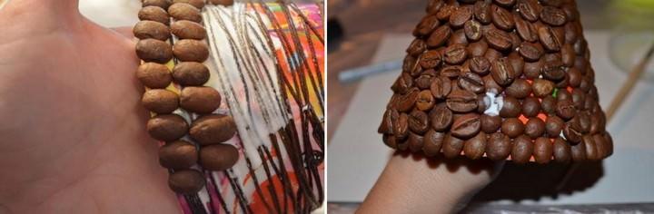 Делая топиарий в форме елки, зерна кофе можно приклеивать в два слоя или внахлест одним слоем