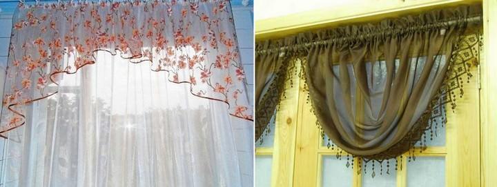 Если планируется пошив ламбрекена для маленькой кухни, лучше выбирать светопрозрачную, не утяжеляющую вид окна ткань