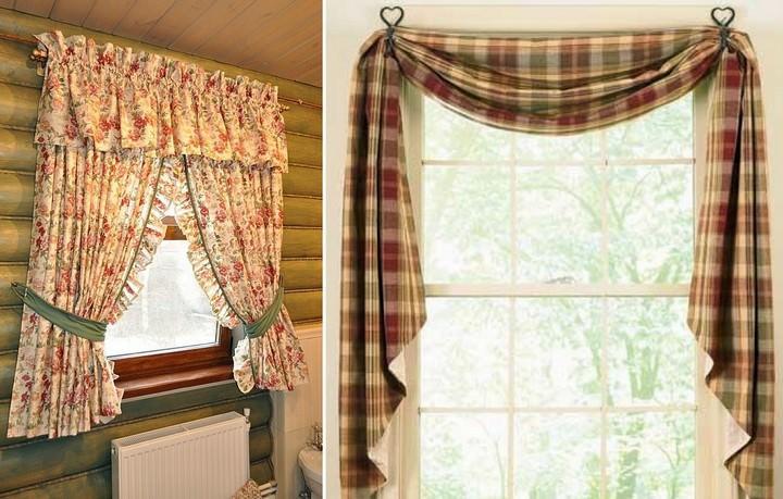 Стиль кафе или кантри в текстильном оформлении включает в себя простейшие модели ламбрекенов