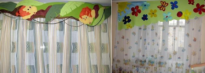 Ламбрекен в виде большой аппликации наиболее актуален для детской комнаты на сегодняшний день