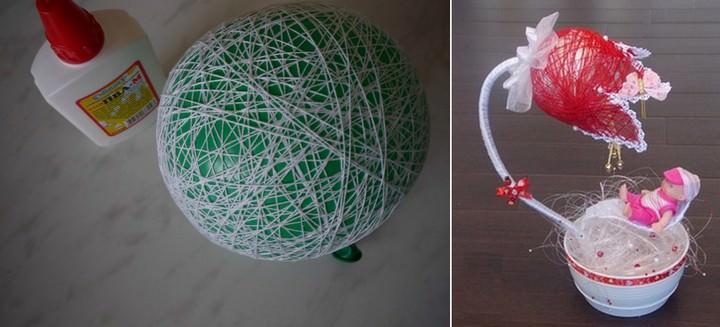 Если воздушный шарик обматывать не полностью, можно придать кроне любую желаемую форму