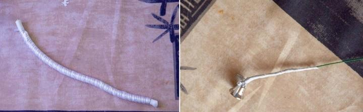 Декорируем кабель дождиком или любой подходящий лентой, к концу проволоки крепим колокольчик
