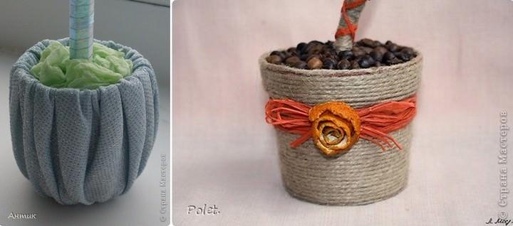 Можно также украсить горшочек текстилем или задекорировать шпагатом