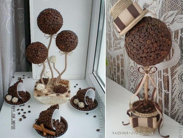 По текстуре и расцветке шпагат очень хорошо сочетается с кофейными зернами, поэтому стилевое оформление топиария можно сделать самым разнообразным