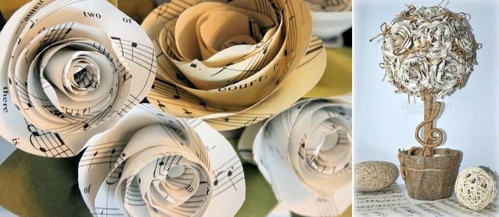 Невероятно элегантен топиарий из нотных листов. Отличный подарок педагогу в школе искусств