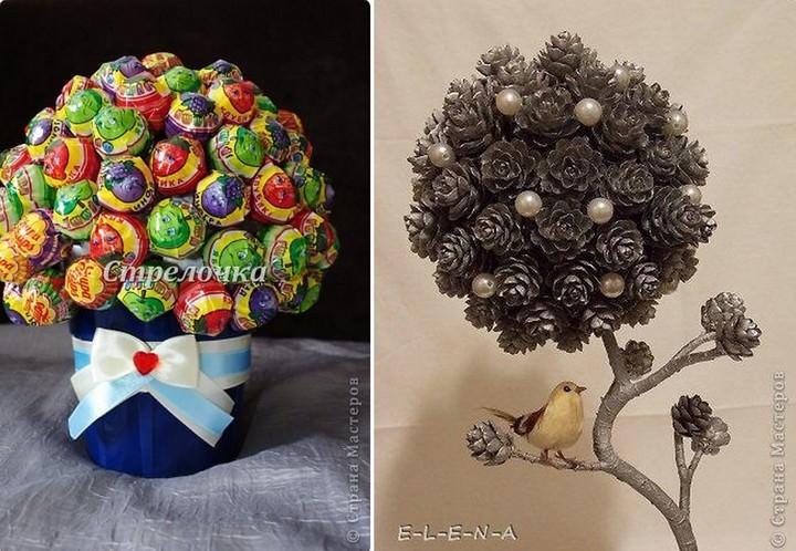 Топиарий с кроной из шишек - актуатный сувенир во время новогодних праздников, а деревце с кроной из леденцов - отличное ему дополнение