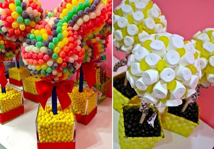 конфетные топиарии - яркое и красочное украшение для детского торжества, которое, к тому же, является сладким десертом