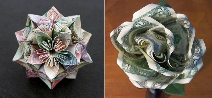 Цветок может быть выполнен чисто в технике оригами или другим способом