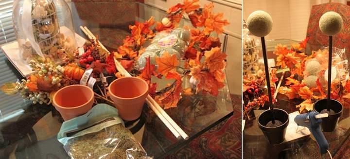 Для изготовления осеннего деревца потребуется цветочный горшочек, шар-основа, палочка для ствола, материал для закрепления и декор. Перед тем как декорировать крону, основание топиария необходимо зафиксировать в горшочке