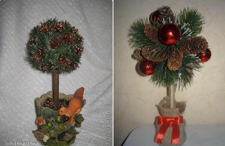 Дерево счастья в эко стиле из шишек – целое поле для действий творческому человеку. При декорировании кроны можно придерживаться новогодней тематики или создать атмосферу осеннего леса