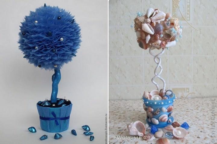 Для декора дерева счастья в морской тематике нередко используется краска, придающая поделке особый колорит