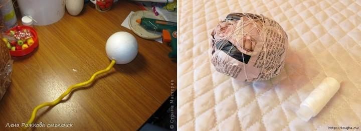 Для кроны следует приобрести шар из пенопласта, так как шар из мятых газет идеально ровным не получится