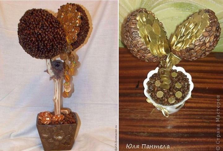 Денежное дерево с добавлением в декор кофейных зерен выглядит более оригинально, чем простой топиарий из монет
