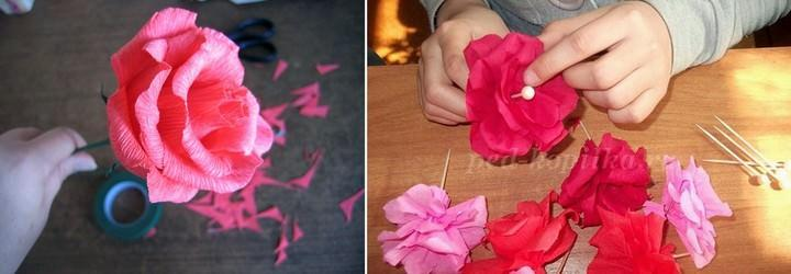 В зависимости от того, каким образом выполнены розы, может отличаться способ их крепления