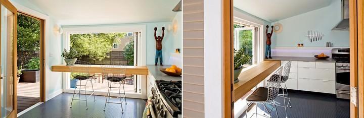Очень трудно разместить барную стойку у окна так, чтобы сохранилась возможность без труда открывать и закрывать окно, особенно если это проделывается часто. Поэтому подобное расположение более уместно для кухонных помещений с альтернативным глухим окном