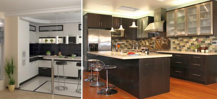 По высоте барные стойки могут быть такими же, как и основная столешница, либо на 10-15 см выше, чтобы скрыть из виду, например, временный беспорядок в рабочей зоне кухни