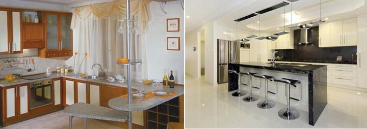 Можно также поместить угловую барную стойку на проходе между кухней и комнатой, снеся предварительно межкомнатную стену